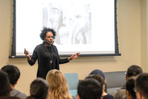 Students in the Chadbourne Residential College (CRC) and the Multicultural Learning Community (MLC) participate in a social justice workshop hosted by social activist Bree Newsome on Oct. 12, 2016. Newsome asked the students to think about a time that they felt powerful and provide them with insights and a history of social justice. (Photo by Bryce Richter / UW-Madison)