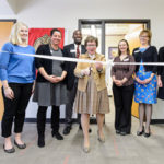 UW Chancellor Rebecca Blank officially cuts the ribbon during a grand opening ceremony at the Career Exploration Center (CEC) inside Ingraham Hall at the University of Wisconsin-Madison on Jan. 30, 2017. (Photo by Bryce Richter / UW-Madison)